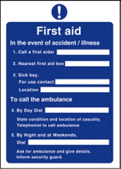 Picture of First Aid Guides Sign