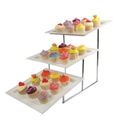 """Picture of Three Tier Angled Dover Chrome Stand 17x13.2x15.6"""" (43x33.5x39.5cm)"""
