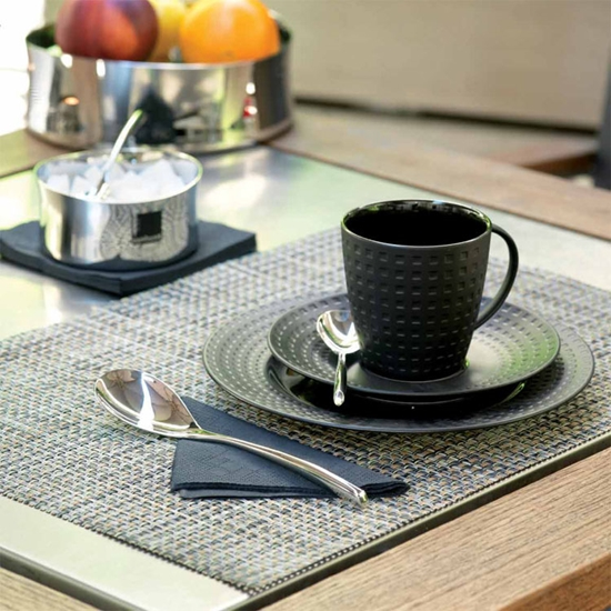 """Picture of Beige/Grey Woven Placemat 16.5x13"""" (42x33cm)"""