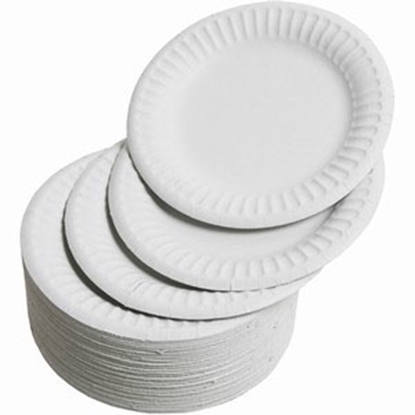 """Picture of Round White Paper Plates 9"""" (22.9cm)"""