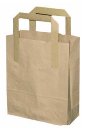 "Picture of Kraft Brown Carrier Bag Small 8.3x7.1x3"" (21x18x7.5cm)"