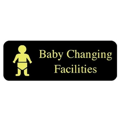 """Picture of Gold/Black Baby Changing Facilities Sign 2.4x6.7"""" (6x17cm)"""