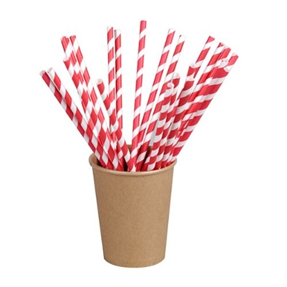 "Picture of Compostable Red & White Paper Straws 8"" (20.3cm)"