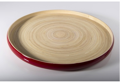 "Picture of Red Bamboo Tray 17.7x1.2"" (45x3cm)"