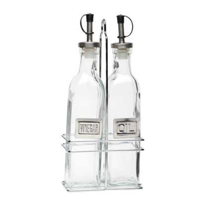 Picture of Square Glass Oil & Vinegar Set With Chrome Stand