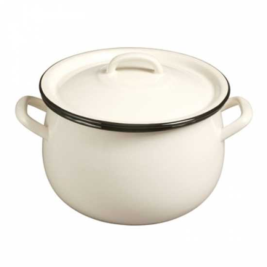Picture of Cream/Black Enamel Casserole Dish