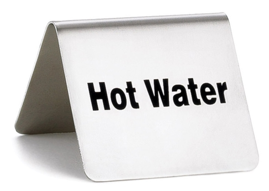 """Picture of Stainless Steel Hot Water Sign 2.4x2x2"""" (6x5x5cm)"""
