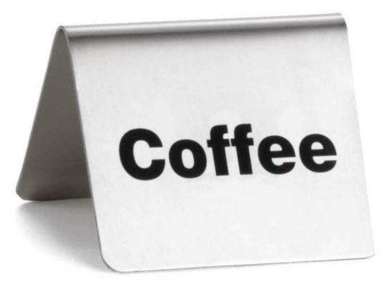 """Picture of Stainless Steel Coffee Sign 2.4x2x2"""" (6x5x5cm)"""