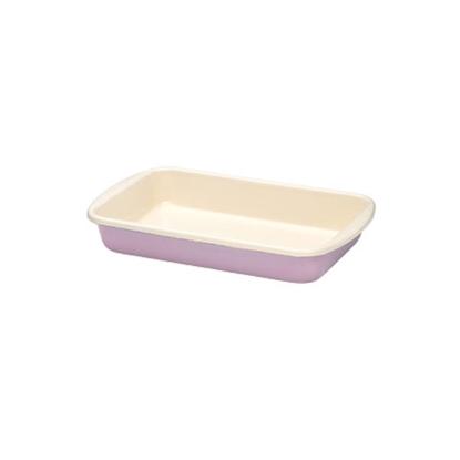 "Picture of Pink and Cream Enamel Rectangular Dish 12.6x7.5"" (32x19cm)"