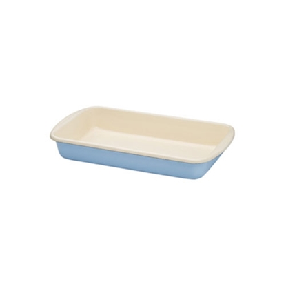 "Picture of Blue and Cream Enamel Rectangular Dish 14.2x8.5"" (36x21.5cm)"