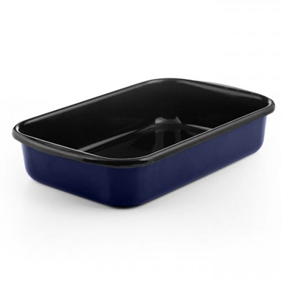 """Picture of Blue and Black Enamel Rectangular Dish 13.8x9"""" (35x23cm)"""