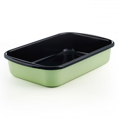 """Picture of Green and Black Enamel Rectangular Dish 13.8x9"""" (35x23cm)"""