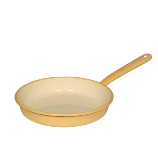 """Picture of Yellow and Cream Enamel Omlette Pan 8.5"""" (22cm)"""