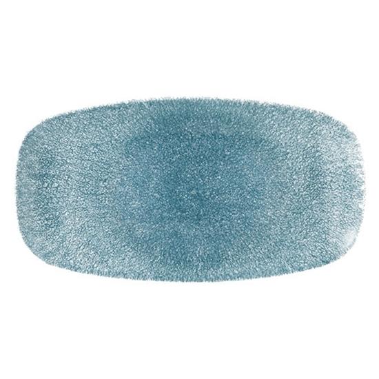 "Picture of Churchill Raku Topaz Blue Oblong Plate 14"" (35.5cm)"