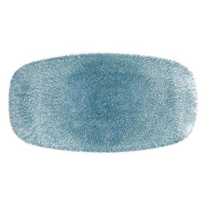 "Picture of Churchill Raku Topaz Blue Oblong Plate 11.75"" (29.8cm)"