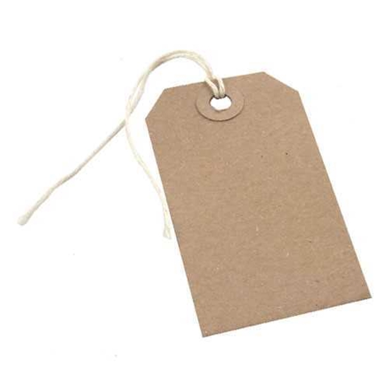 """Picture of Brown Tag With String 4.3x2.1"""" (10.8x5.4cm)"""