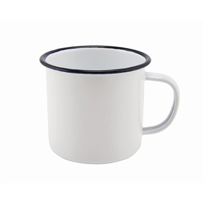 36cl White Enamel Mug