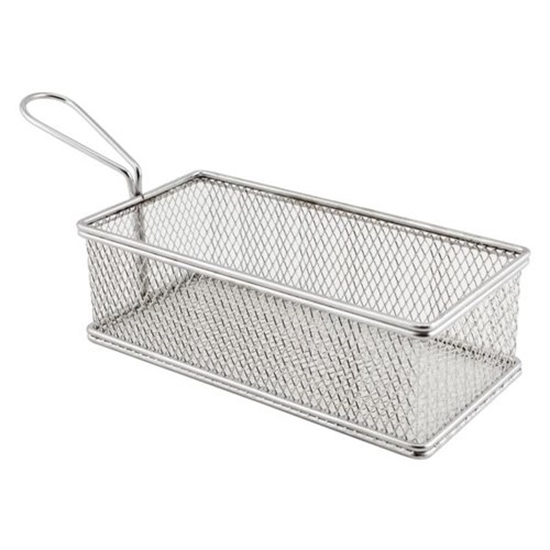 """Picture of Stainless Steel Large Rectangular Serving Basket 8.5x4.1x2.4"""" (21.5x10.5x6cm)"""