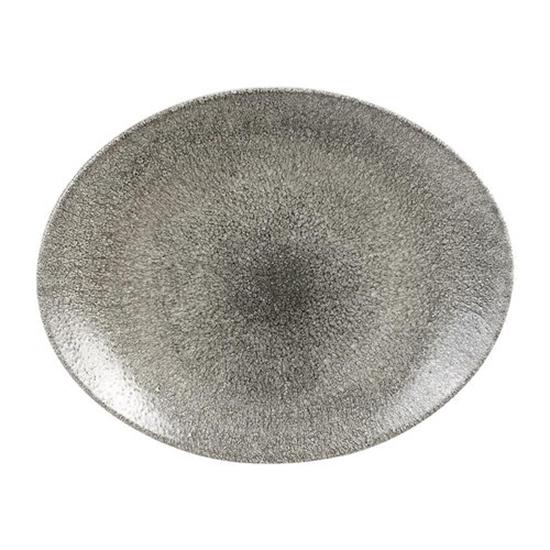 Raku Quartz Black Oval Coupe Plate 31.7cm