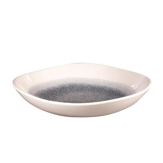 Raku Topaz Blue Round Trace Bowl 9 7/8