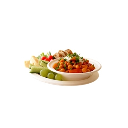"Picture of 9"" Compostable Bagasse Plate"