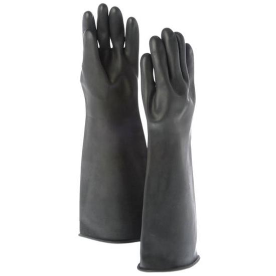 Black Rubber Gauntlet Gloves