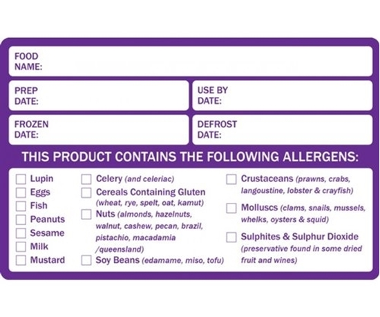 Food Prep & Allergen Warning Food Label