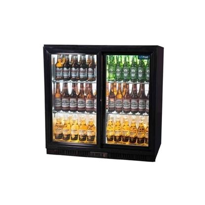 Unifrost Double Sliding Door Bar Cooler Black