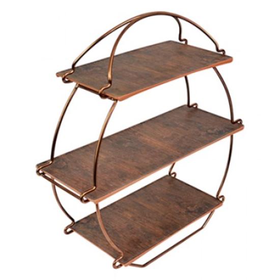 Rustic Wood & Copper Tea Stand