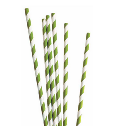Paper Straws Green & White
