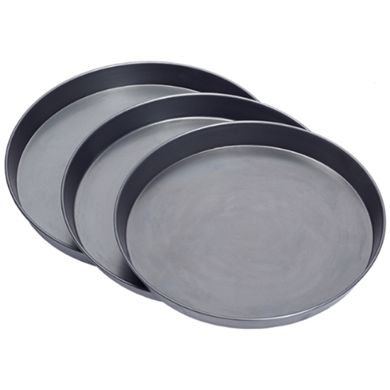 "Black Iron Pizza Pans 12"" Diameter 1.5"" Deep"