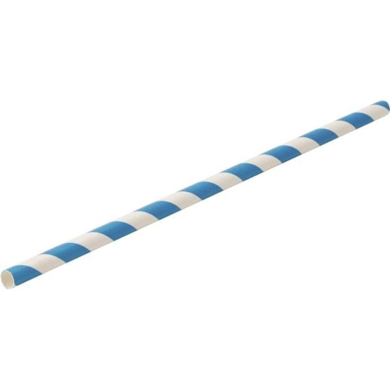 "Picture of Paper Blue Stripe Straw 8"" (20.3cm)"