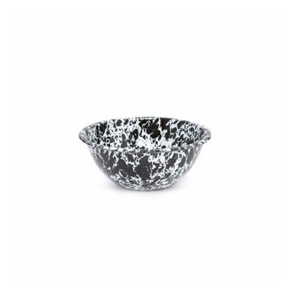 Enamel Splatterware Black Serving Bowl