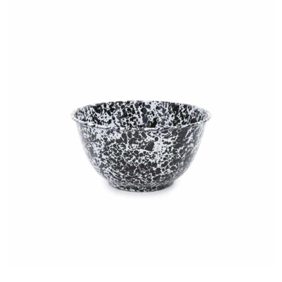 Enamel Splatterware Black Tall Salad Bowl