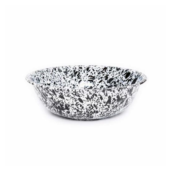Enamel Splatterware Black Medium Salad Bowl