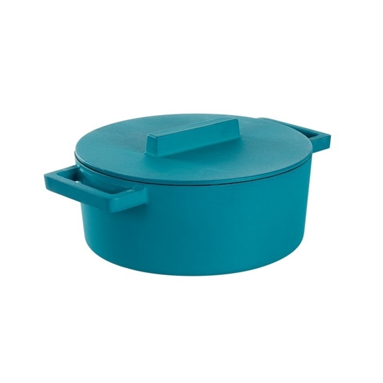 Terracotta Cast Iron Oval Blue Casserole Pot With Lid 3.3L