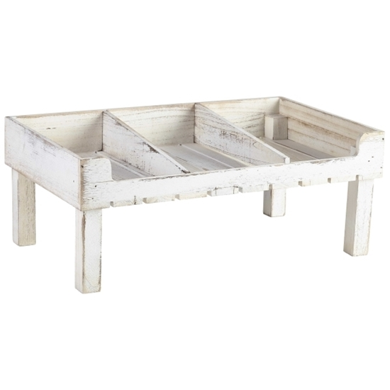 """Picture of White Wash Wooden Display Crate 8.3"""" (21cm)"""