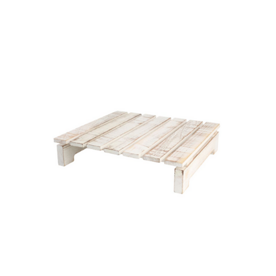 Rustic Square Wooden Slatted Table Grey White & Acacia