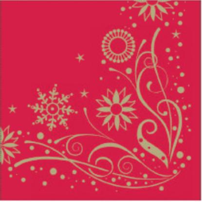 Red & Gold Snowflake Napkin