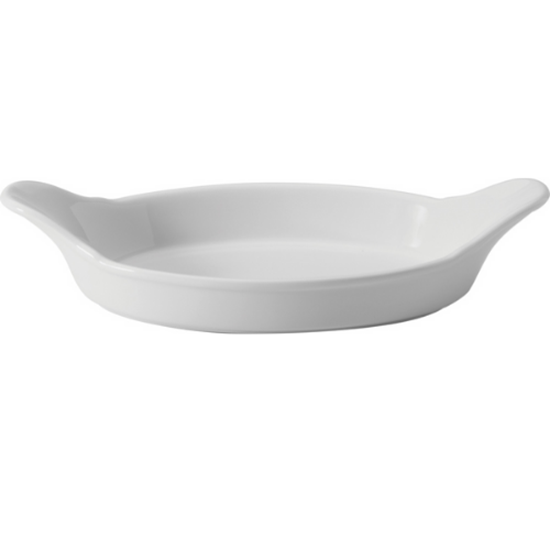 "Apollo White Oval Eared Dish 8.5"""