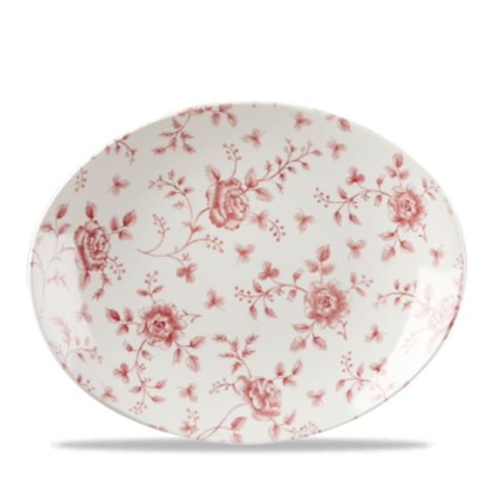 "Vintage Print Cranberry Rose Chintz Oval Plate 12.5"""
