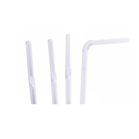 Drinking Straw, PP Clear, 200 X 5mm Bendy