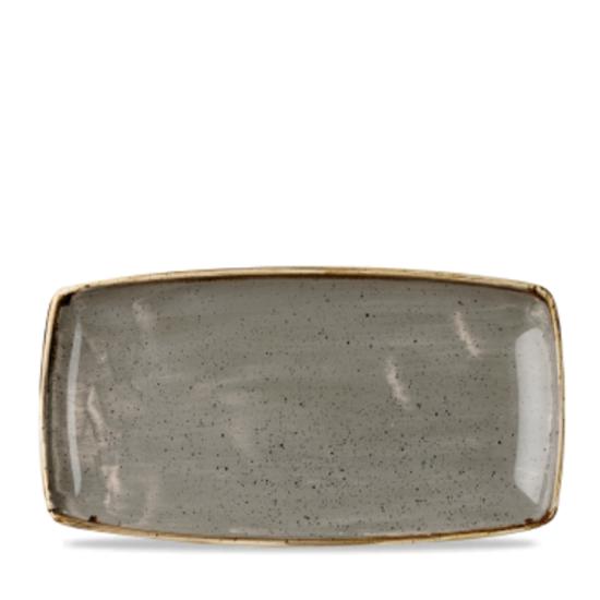 "Churchill Stonecast Peppercorn Grey Oblong Plate 14x7.25"""
