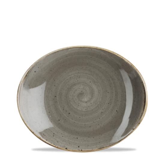 "Churchill Stonecast Peppercorn Grey Oval Plate 7.75"" (19.7cm)"