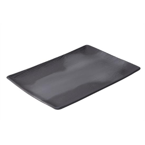 "Black Arborescence Rectangular Plate 12.5"" (32cm)"