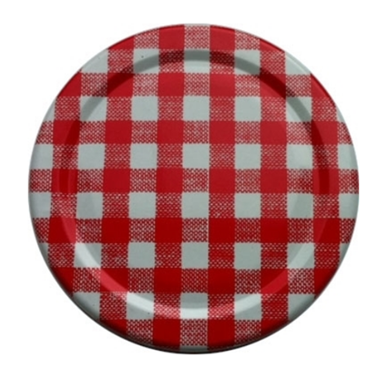 Red Gingham Jam Jar Lid (63mm)