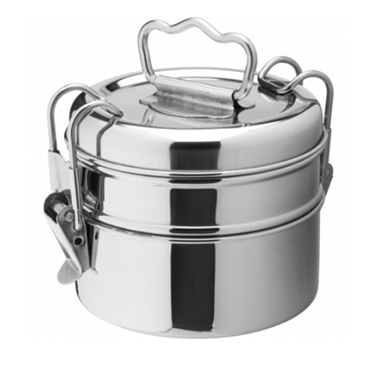 "Stainless Steel 2 Tier Tiffin Box 3.5"" (9cm)"