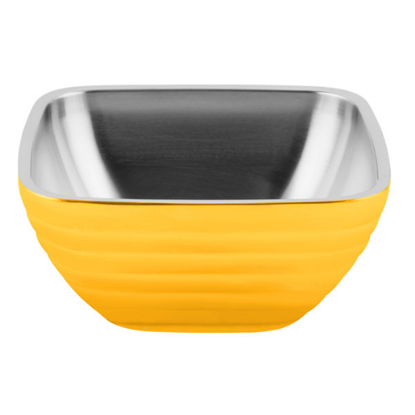 Square Double Walled Bowl 1.8Qt Yellow