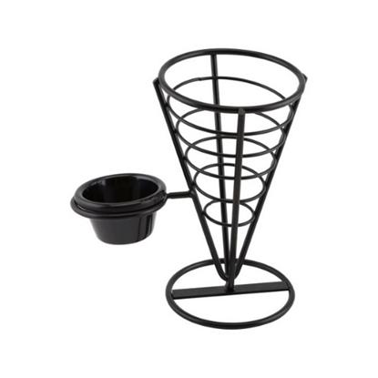 "Appetizer Cone With Single Ramekin Holder 5x9"""