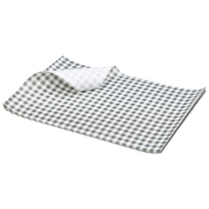 Black Gingham Print Greaseproof Paper Sheets 25x20cm